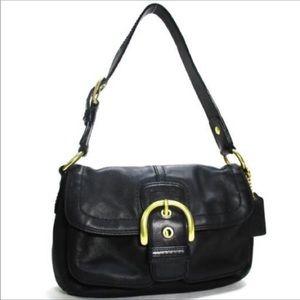 Coach Leather Soho Flap Buckle Hobo Shoulder Bag